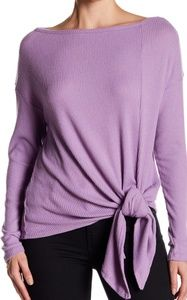 Harlowe &Graham Ribbed Fleece Knot Front Pullover